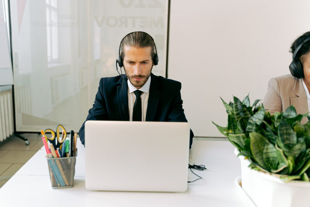 Customer service agent with headset
