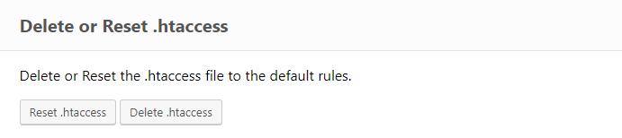 ERS Delete/ Reset .htaccess tool