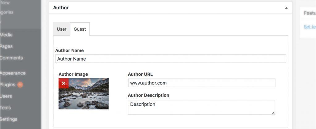 Guest Author plugin settings screenshot