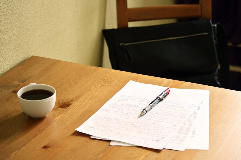 Papers on table