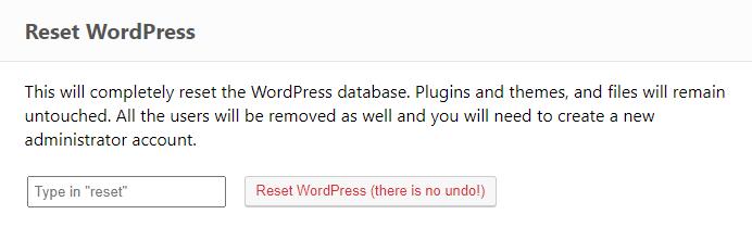 ERS Reset WordPress tool