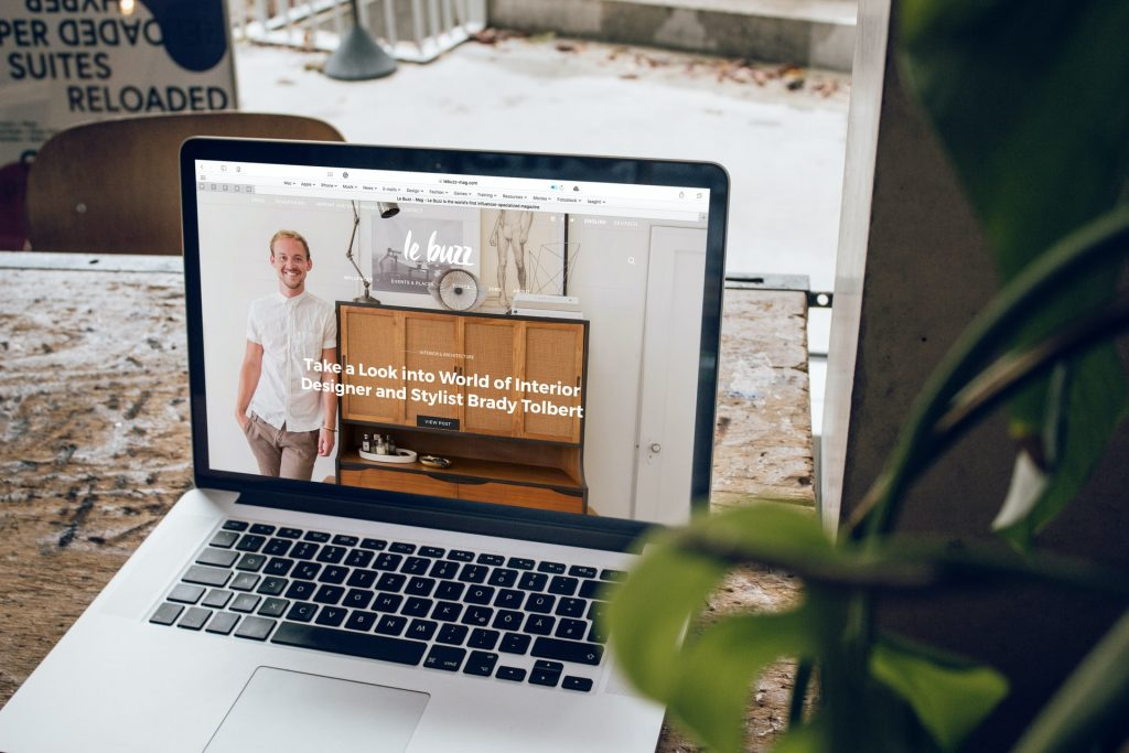 Website on screen