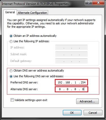 DNS server parameters